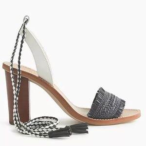 JCrew Raffia ankle-tie high-heel sandals